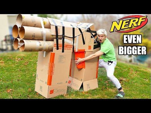 MY WORLDS BIGGEST CARDBOARD NERF GUN!!