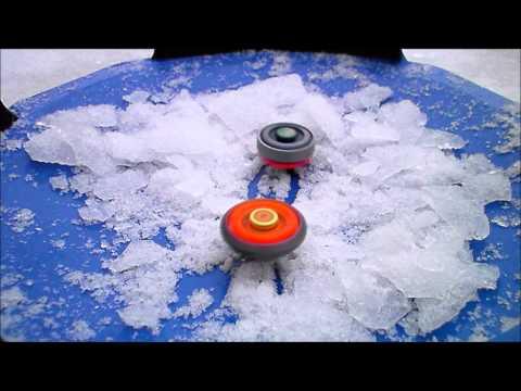 beyblade battle with ice chunks