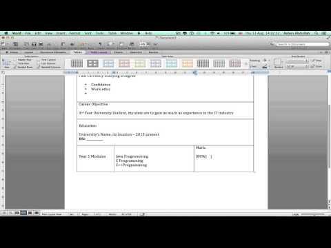 How to Make/ Create/ Write a 2 Page CV on Microsoft Word On a Mac