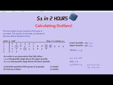 S1 in 2 Hours: Outliers and Quartiles
