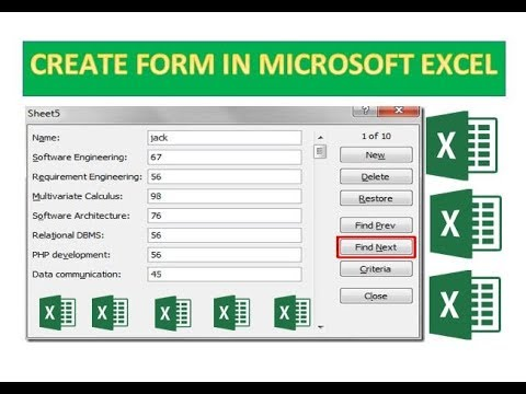 How to create a form in Excel.