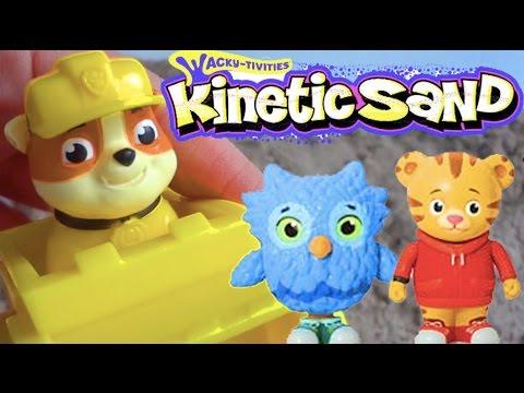 PAW PATROL Kinetic Sand TREASURE HUNT! Daniel Tiger Toys + Rubble from Paw Patrol Surprises