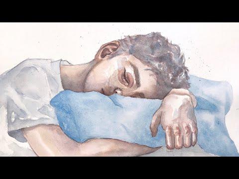 sleepy - watercolor painting
