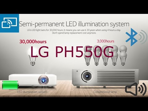 LG PH550G Minibeam LED Projector with Built-In Battery, Bluetooth Sound Out and Screen Share