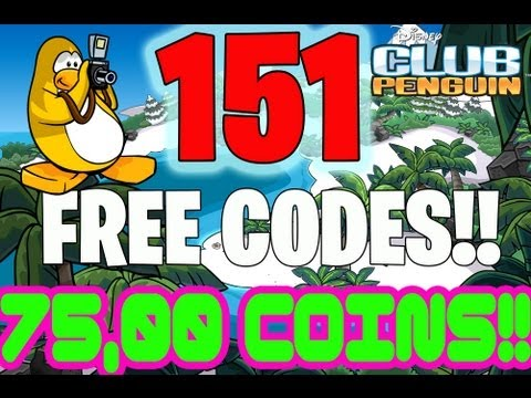 Club Penguin Codes - 151 Free Codes! (Clothes + Coins) 75,000 coins EVERY CLUB PENGUIN CODE RELEASED