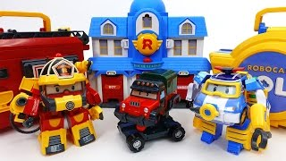 Robocar Poli Special~! Car Wash Center Rescue Center Parking Tower and Transforming Playset