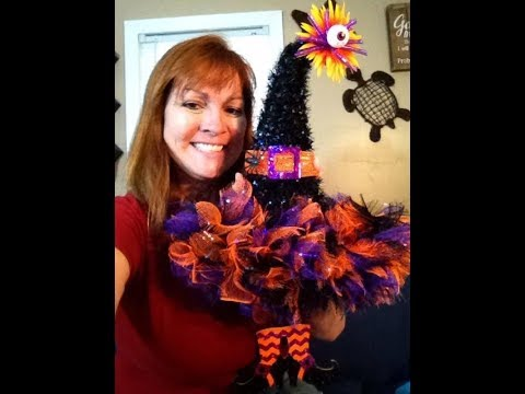 Dress up a Dollar Tree witch hat with Dollar Tree supplies