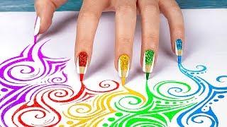 10 Weird Nail Hacks / Back To School Nails Using School Supplies!