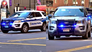 Boston Police Cars Responding: Slicktop and Unmarked Ford Interceptors Sirens