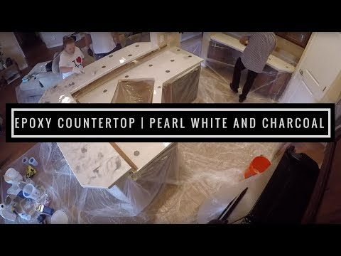 Countertop Resurfacing with Metallic Epoxy   Pearl White and Charcoal