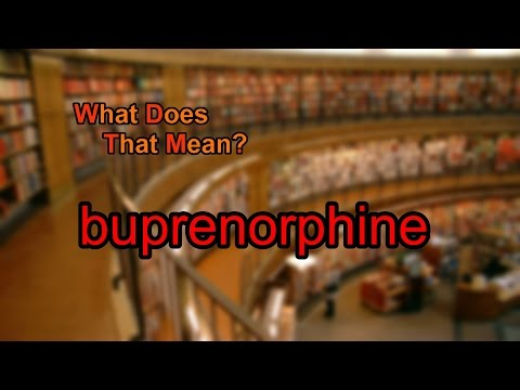What does buprenorphine mean?