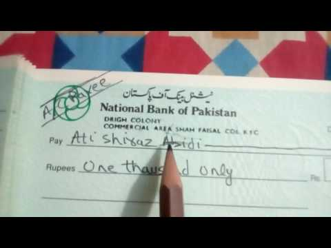 The proper way to fill up the cheque (Urdu / Hindi)