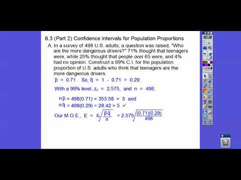 Confidence Intervals for Population Proportions - Section 6.3 (Part 2)