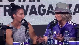 Ashlyn Harris and Ali Krieger on Men In Blazers
