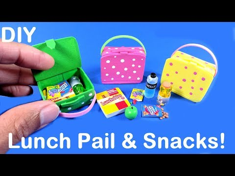 DIY Miniature Lunch Pail Bag with School Snacks - Lunchables, Fruit Snacks, & Cookies