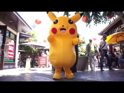 Pikachu costume dance in Japanese Village Plaza
