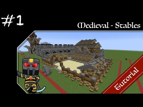Minecraft Medieval Builds - Stables Tutorial - Part 1 - How to Build a Medieval Stables