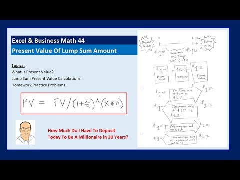 Excel & Business Math 44: What is Present Value? Calculate Present Value Of Lump Sum Amount.