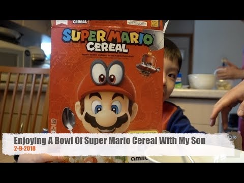 Enjoying A Bowl Of Super Mario Cereal With My Son