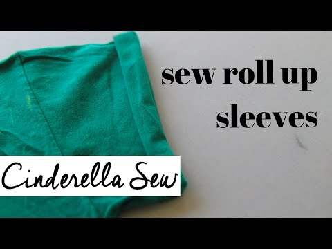 Roll up sleeves and sew in place - Easy hand sewing cuffed sleeves - Cinderella Sew