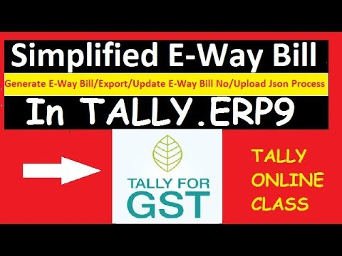 Simplified E-way Bill /Generate/Export/Update/Upload Process In Tally.ERP9