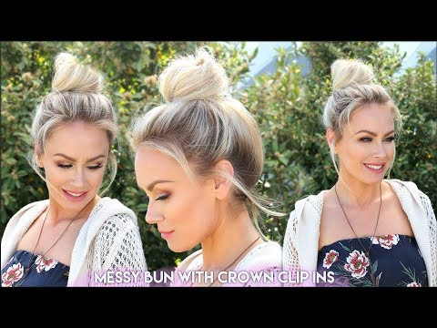 How to: Messy Bun with Crown Clip-Ins | Hidden Crown