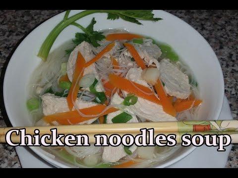How to make chicken noodles soup - Hühner Nudelsuppe - Sopa de pollo y fideos