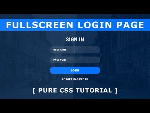 Fullscreen Login Form Design - How to Create Login Page In Html And CSS - Tutorial