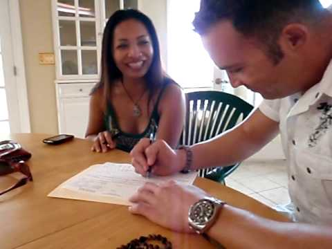Signing our marriage license
