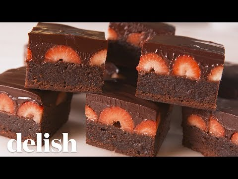 Chocolate Covered Strawberry Brownies | Delish
