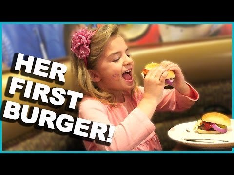 HER FIRST HAMBURGER! CAN SHE HOLD IT DOWN!?