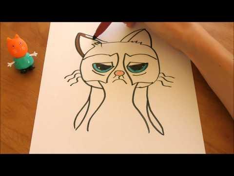 Easy Grumpy Cat Drawing | Grumpy Cat Coloring Page