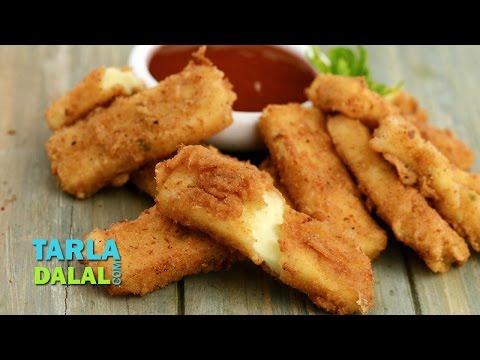 Fried Mozzarella Sticks, Homemade Fried Cheese Sticks by Tarla Dalal