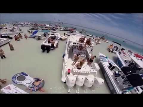 Aerial Drone Video - Key Largo Adventures Sand Bar Memorial Weekend 2014