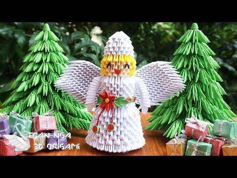 How To Make 3D Origami Christmas Angel   DIY Paper Christmas Angel Tutorial