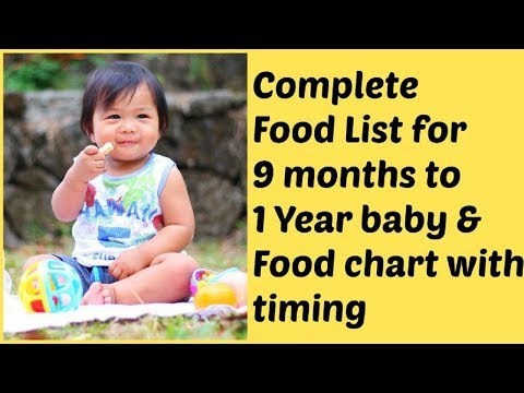 Food chart for 9 months to 1 year baby