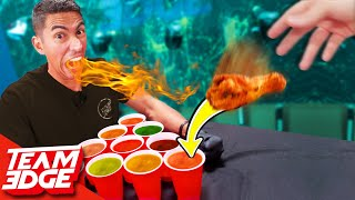 Spicy Cup Pong Challenge! | Carolina Reaper Hot Sauce!!