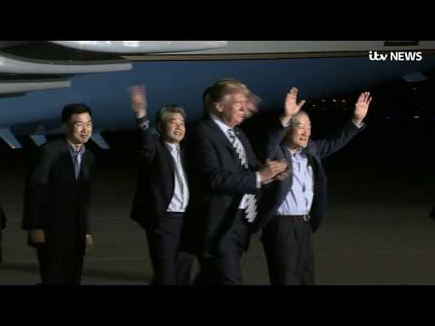Donald Trump welcomes three US citizens released by North Korea | ITV News