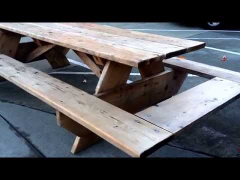 Large Picnic Table with End Benches
