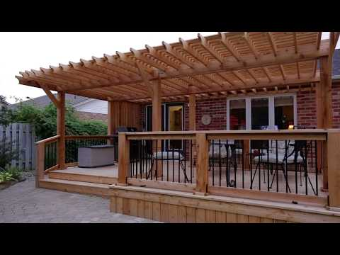 Backyard Deck with Pergola and Privacy Screen