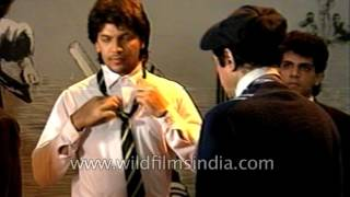 Dev Anand directs Aditya Pancholi on the set of Awwal Number