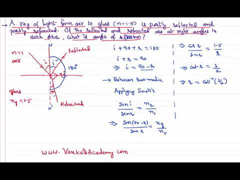 Ray Optics Problem Angle of Refraction when Reflected and Refracted are Perpendicular JEE and NEET