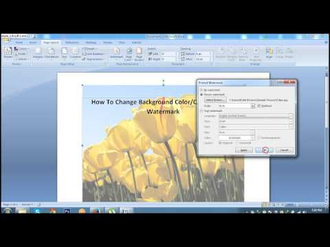 How To Change Background Color or Printed Watermark In MS Word 2007 #Lesson 38