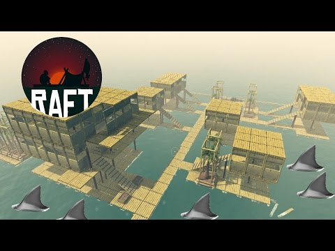 Shark Watch Tower Built In Biggest Raft City Ever! Multi-Level Housing + More - Raft Game - Gameplay