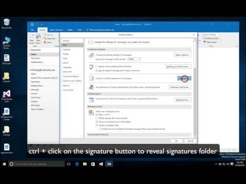 Installing email signature in outlook 2016 on Windows