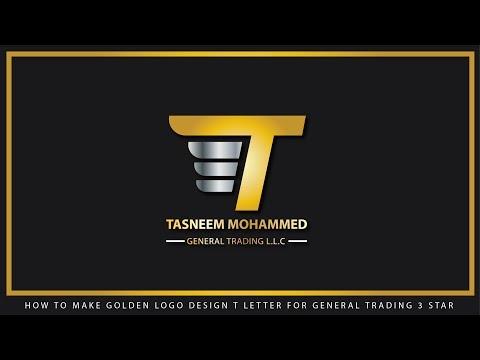 T Gold Logo Design concept | How to Design a Logo | Adobe Illustrator