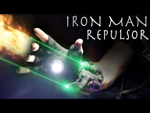 How To Make An IRON MAN REPULSOR GLOVE! - Lasers, Flamethrower, Lights!!! (AMAZING RESULTS)