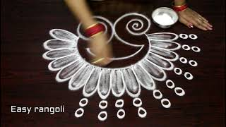 how to draw simple peacock rangoli designs with out dots    easy kolam designs    muggulu designs