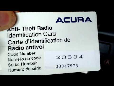 2003 Acura radio reset.