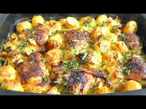 Honey CHICKEN & ROASTED POTATOES in tarragon sauce How to Cook recipe